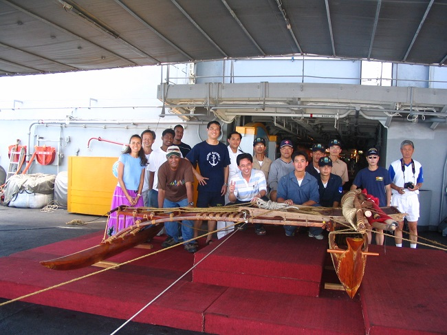 Taiwan canoe - safely on board and secured.