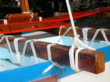 Lashing on a canoe made by WAM for Ailuk Atoll.