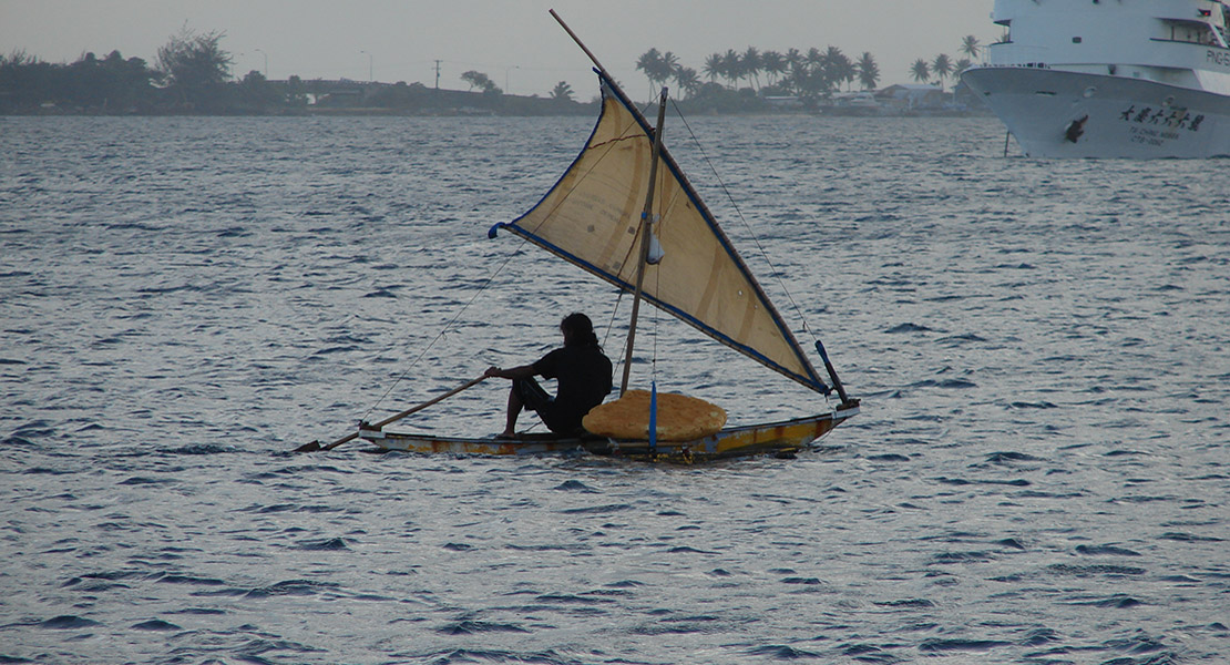 small canoe in Majuro lagoon