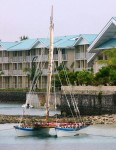 The newly-built canoe moored off the Marshall Islands Resort in 2004.