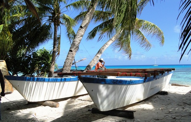 The canoe undergoes a refit on Ailuk Atoll in 2013.