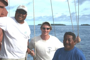 Alson Kelen, Joe Gen, Captain Korent Joel on the yacht Mali in 2006. Photo: WAM