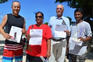 Grant Bilyard (second), Moten Naisher (participant's prize), Dr. Bob Blue (first), and Linton Baso (third). Photo: Karen Earnshaw