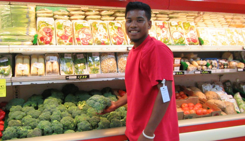 WAM 2015 alumni Jacklick Kamo work at K&K Supermarket. Photo: Tolina Tomeing