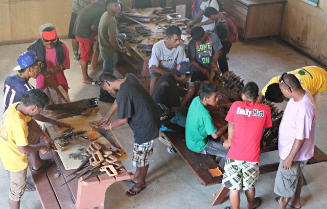 WAM Trainees first week doing inventory and cleanup. Photo: Tolina Tomeing