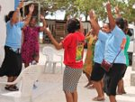 WAM Trainees with WAM Counselor Tolina Tomeing getting some exercise lessons. Photo: Linton Baso
