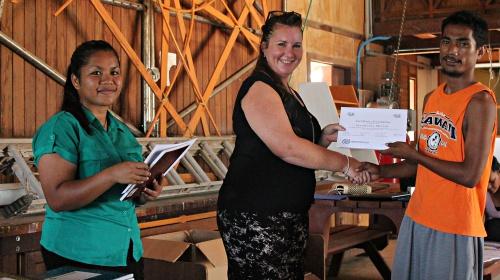 IOM Instructor Angela Sanders with trainee Jeremaiha Motlok. Photo: Tolina Tomeing