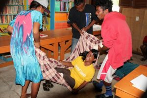 The Red Cross first aid workshop included some fun and games. Photo: WAM