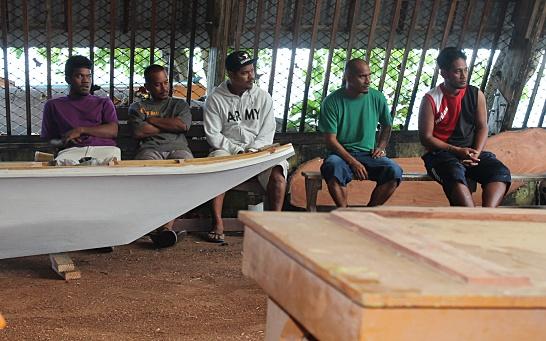 GEF trainees Etri John, Thompson Johnson, Adija Lometo, Matson John and Rusty Riklon on first day. Photo: Suemina Bohanny