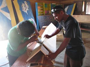 Carpentry skills being used by Abija Lometo & Rusty Riklon. Photo: Sealend Laiden