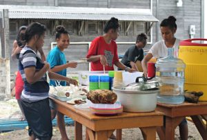 WAM trainees preparing lunch. Photo: Suemina Bohanny