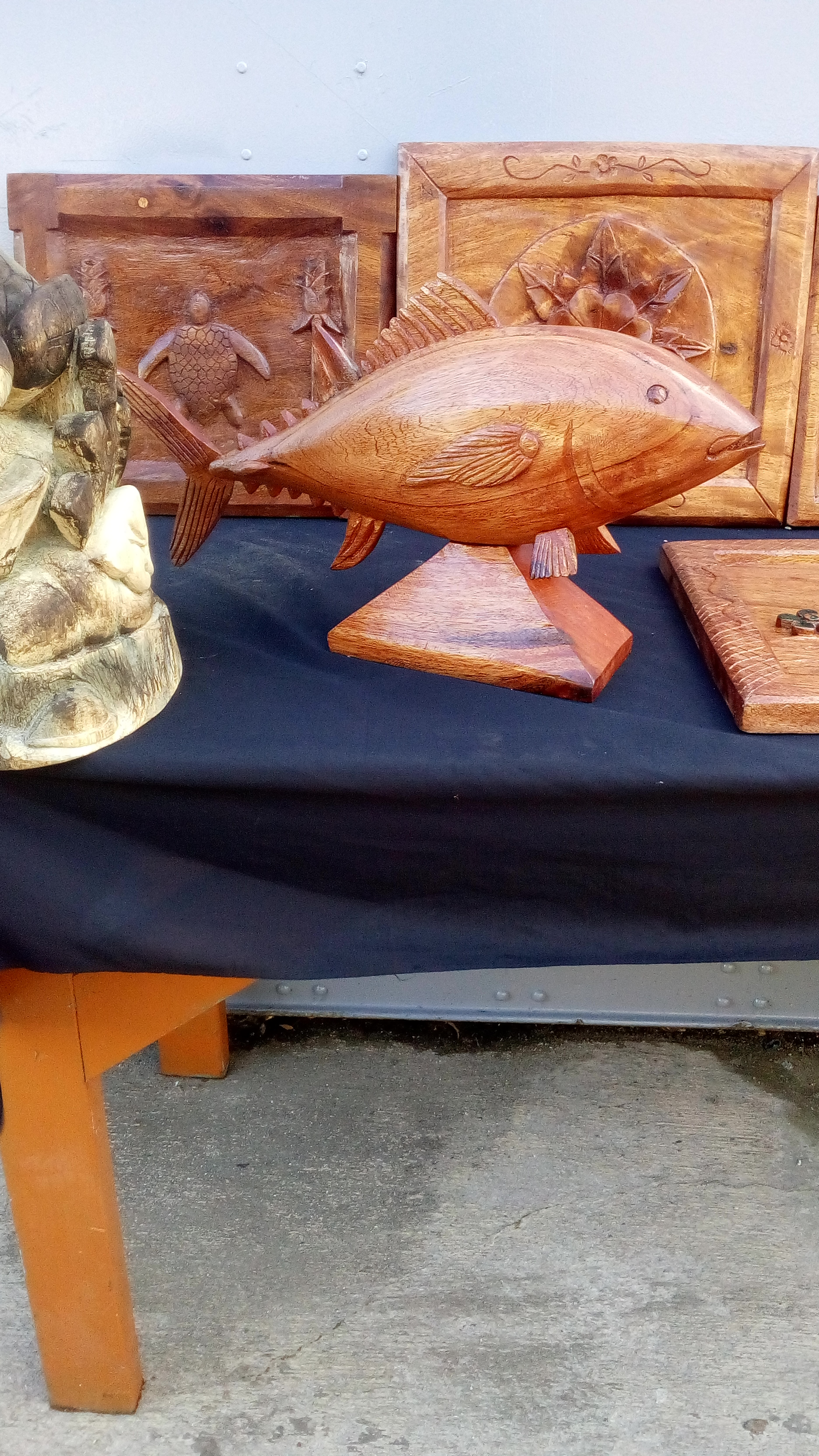 Fish carving created by Maston John. Photo: Suemina Bohanny