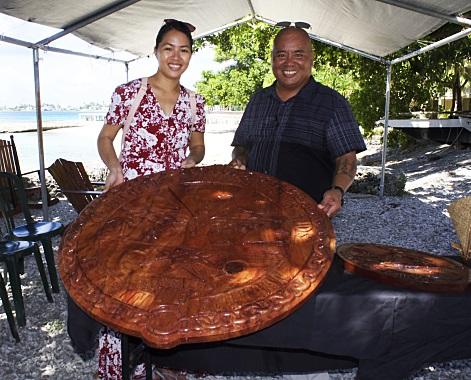 Carved Lukej Government Seal with Yoshiko Yamaguchi reprenting GEF & WAM Director Alson Kelen. Photo: Joel Bowman