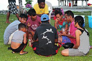 Board Game enjoyed by NTC trainees Dusty Saito, Dalas Henry, Donny Erbin, Thyin Laibwij, Ryan Jikrok, GEF trainee Nashion Anrak. Photo: Suemina Bohanny