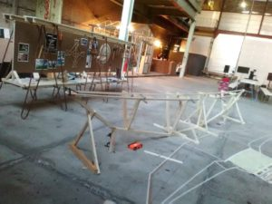 The structure for the canoe is laid out! Photo: Esther Kokmeijer