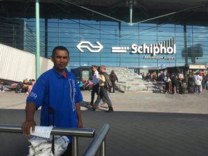 Isockar Anwel arriving in Netherlands Photo: Esther Kokmeijer